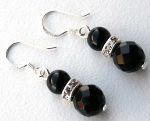 Onyx and Sterling Silver Drop Earrings with Rhinestone in Silver Rondelles