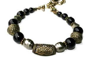 Baroque Black and Gold Brass, Baroque Pearl, Onyx and Pyrite Necklace